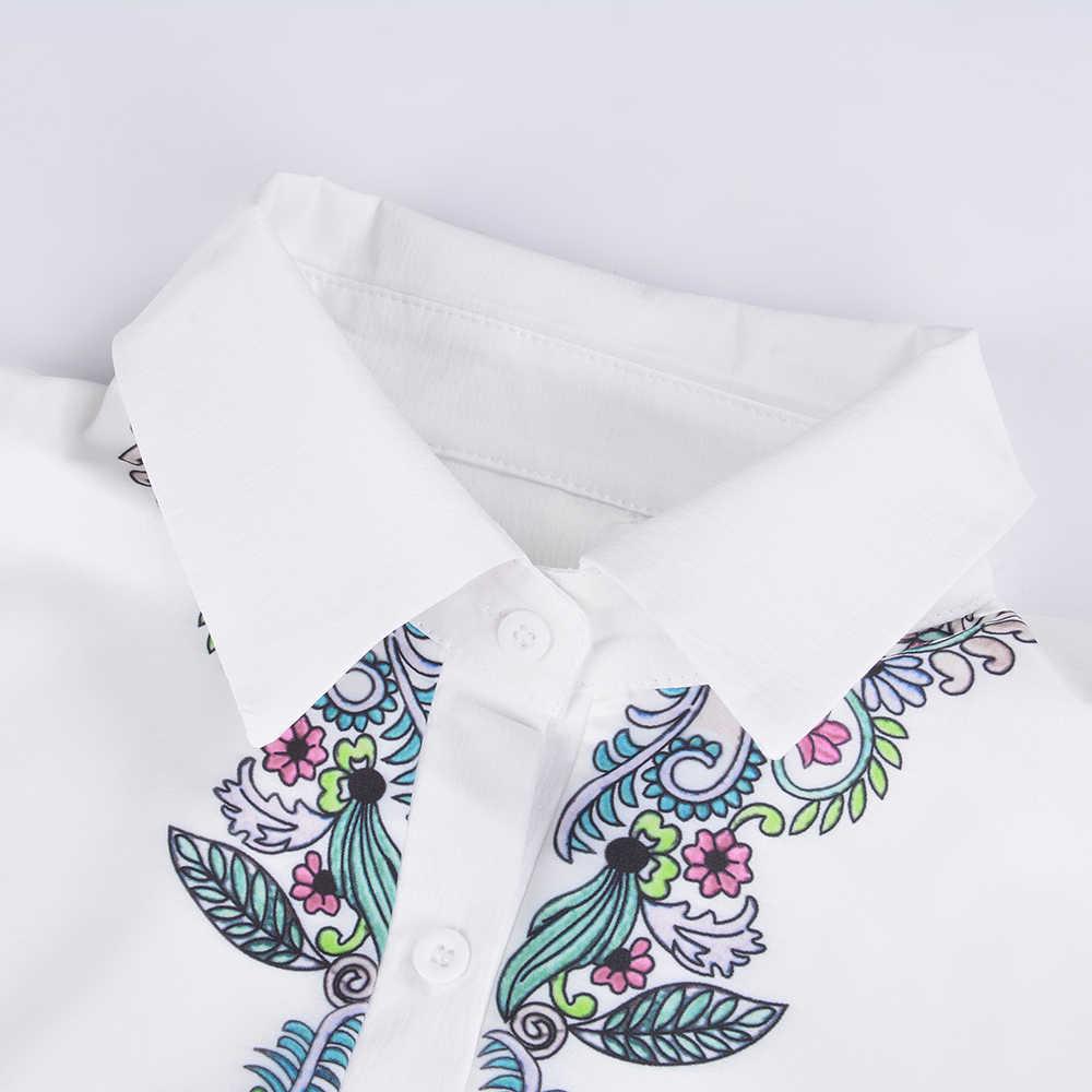 2019 女性花柄エスニックシャツファッション V ネックロングスリーブホワイトカラーブラウスレディースカジュアルルーズブラウス Mujer トップス