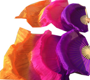 Image 3 - Children Adults  Hand Made Real Silk Veils Bamboo Flame Belly Dance Long Folding Fan Veil Art Colorful Purple Pink 120cm 180cm