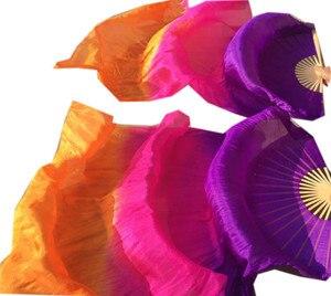 Image 3 - Velos de seda Real hechos a mano para niños y adultos, largo para baile ventilador plegable con llama de bambú, velo de arte colorido, Morado, rosa, 120cm, 180cm