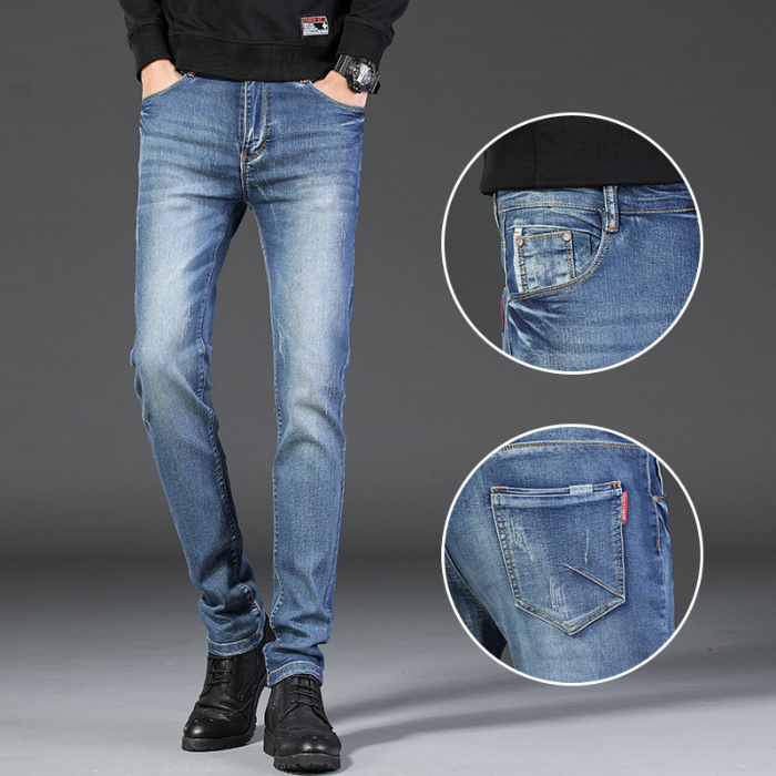 2019 Autumn And Winter Slim Fit Korean-style Straight-Cut Jeans Young MEN'S High-waisted Elasticity Long Pants