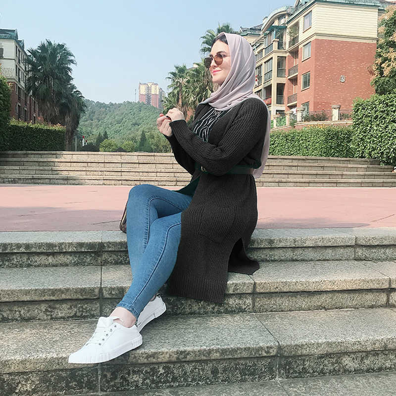 겨울 가을 스웨터 여성 abaya 기모노 니트 카디건 이슬람 블라우스 드레스 따뜻한 두꺼운 kaftan 두바이 터키 이슬람 의류