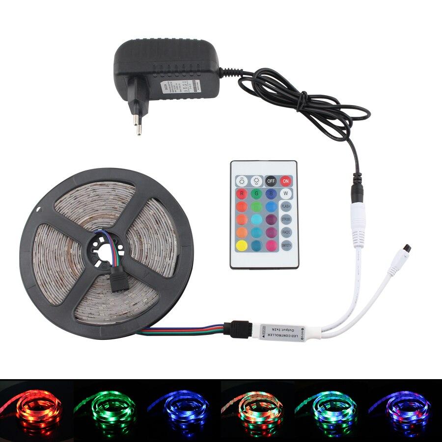 RGB LED Strip 12V Light Waterproof SMD 2835 5M Led Strip 12 V Volt RGB Tape Diode 24Key Remote + 12V Adapter EU Plug Full Set