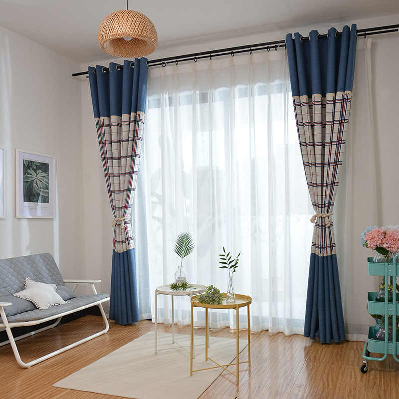 Modern Minimalist Thick Linen Jacquard Curtain Fabric Curtains for Living Room and For Bedroom Color Woven Blackout Curtain