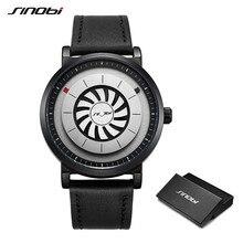 Męskie zegarki kwarcowe nowa marka sinobi Design Fan toczenie Dial kreatywny zegarek mężczyźni męskie sportowe skórzane wodoodporne zegary Relogio