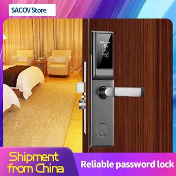Inteligentny zamek do drzwi zamek hotelowy inteligentny zamek zamek rfid drzwi hotelowe zamek elektroniczny RFID drzwi hotelowe systemu wolnego oprogramowania zamek na kartę tanie i dobre opinie SACOV NONE CN (pochodzenie)