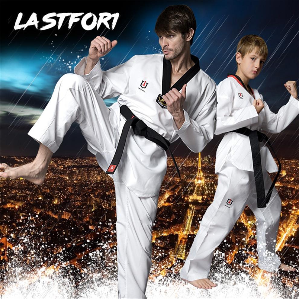 2021 New White Taekwondo Uniform For Men Women Children Black Collar Karate Judo Dobok Kids Adult TKD Long Sleeve Clothes Pants