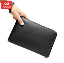 Business Genuine Leather Clutch Wallet Men Long Leather Phone Bag Purse Male Large Size Handy Coin Wallet Card Holder Money Bag williampolo minimalist business men s clutch bag genuine leather flap handy wallet men clutches with cigarette case phone pocket