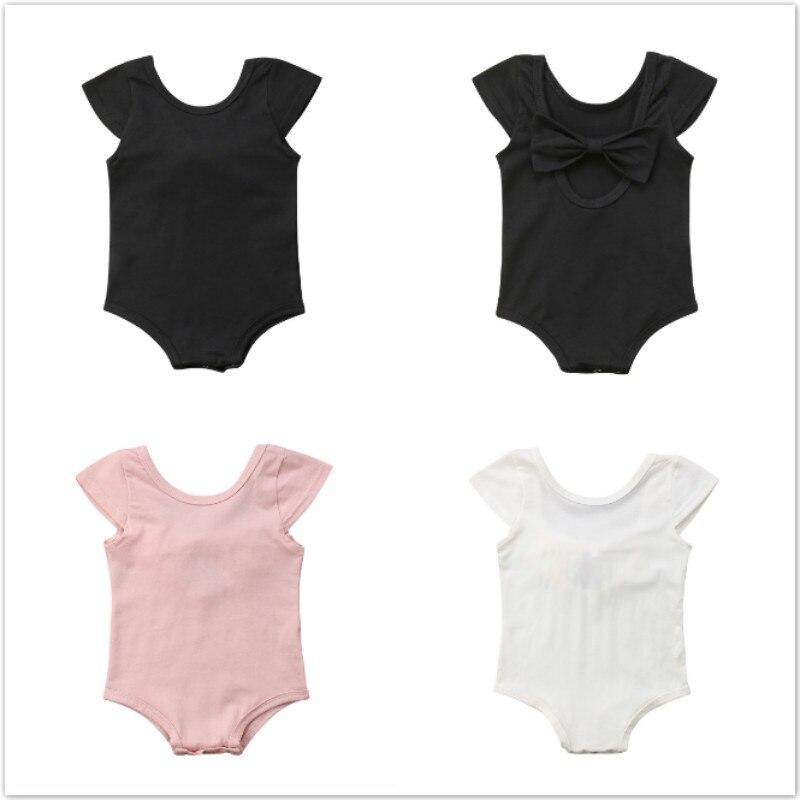 Pudcoco Newborn Baby Girls Bowknot Bodysuit Jumpsuit Toddler Girls Summer Short Sleeve Back Hole Cotton Baby Girls Bodysuit