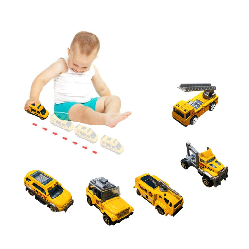 6Pcs/Set Assorted Small Size Truck Toy And Race Car Toy Kit Set Play Construction Vehicle Playset Educational Preschool image