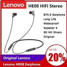 Lenovo HE08 podwójny dynamiczny bezprzewodowy zestaw słuchawkowy Nackband 4 sterownik metalowy zestaw słuchawkowy Stereo HIFI z mikrofonem długi czas odtwarzania