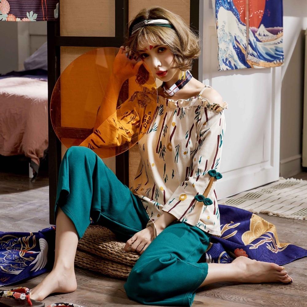 Spring And Autumn Winter Knitted Cotton Long Sleeve Women Pajamas Set Female Slash Neck Home Wear Women Warm Pyjamas