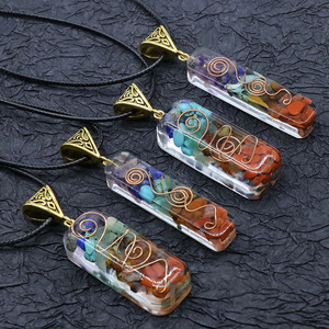 Retro Reiki Healing Colorful Chips Stone Natural Chakra Orgone Energy Pendant Necklace Pendulum Amulet Orgonite Crystal Necklace
