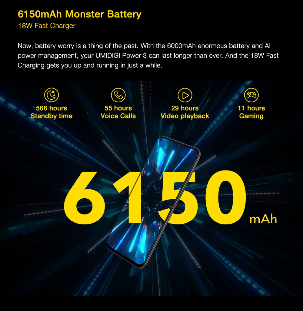 "H7b4aafd9185f405d940ba12ba5ba77f7s UMIDIGI Power 3 Android 10 48MP Quad AI Camera 6150mAh 6.53"" FHD+ 4GB 64GB Helio P60 Global Version Smartphone NFC Pre-sale"