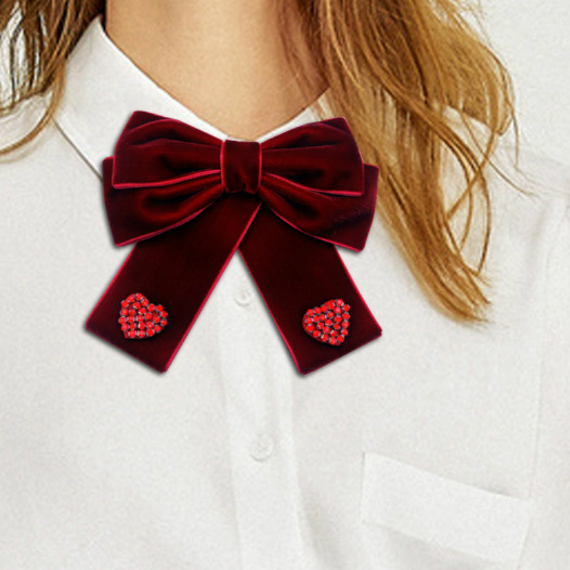 Korean Vintage Velvet Bow Tie Green Red Solid Fabric Brooch Bowtie Jewelry Shirt Collar Pin Bowknot Hair Accessories for Women
