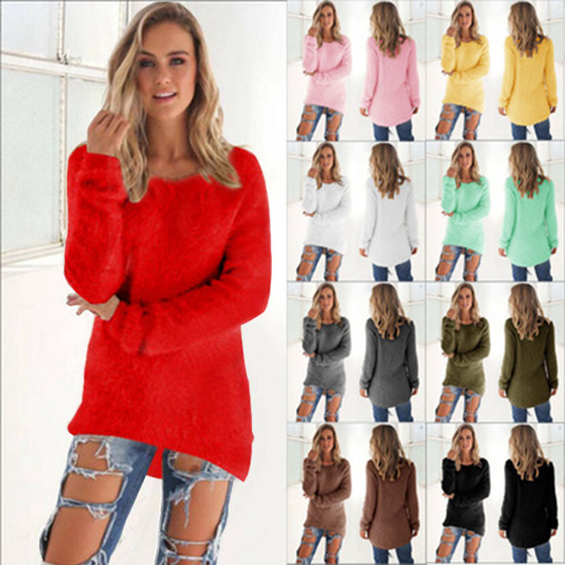 YAYEYOU 2019 Autumn Winter Casual Knitted Ladies Sweater Long Sleeve O-neck Women Tops Plush Sweaters Plue Size 3XL Sweater