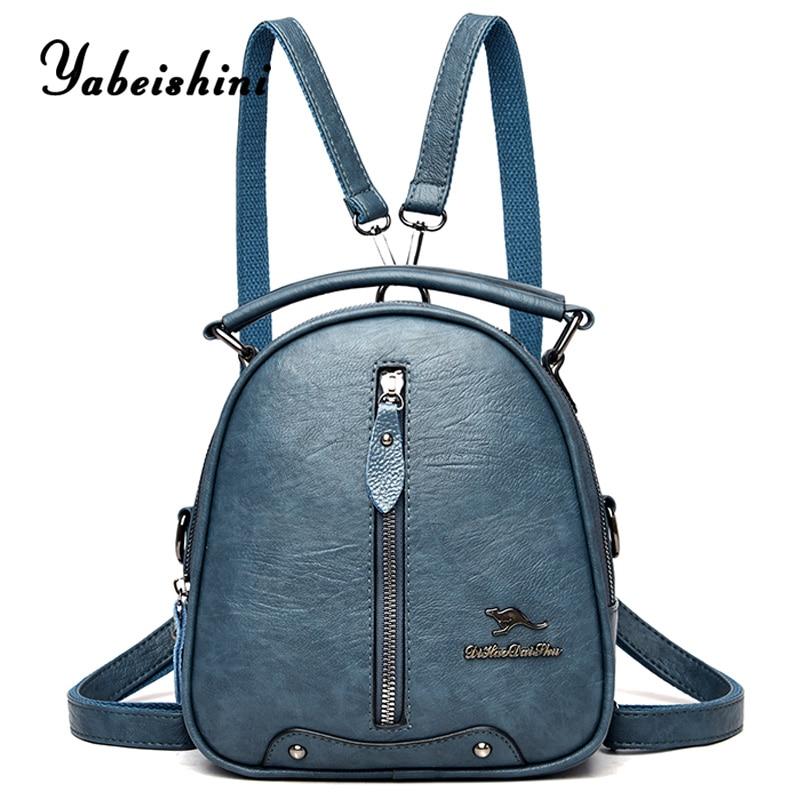 Multifunction Leather Backpacks for women travel backpack Mini school bags for teenage girls sac a dos kangaroo female Backpacks