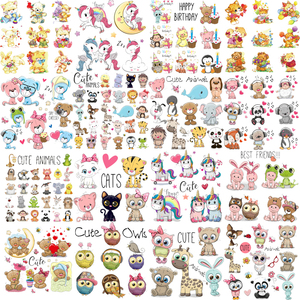 Iron on Cute Animal Patches Set for Clothing DIY T-shirt Applique Vinyl Unicorn Heat Transfer Clothes Stickers Thermal Press Q