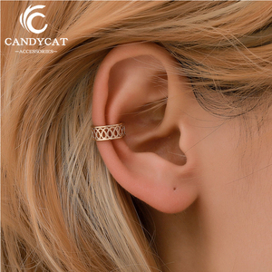 Punk Vintage Hollow Geometric Clip Earrings For Women 2019 Statement Ethnic Pattern Ear Bone Clip Unisex Fashion Jewelry Gifts(China)