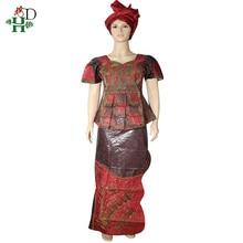 H& D Дашики африканская одежда для женщин топы юбка костюм с повязкой на голову вышивка короткий рукав Футболка традиционная одежда