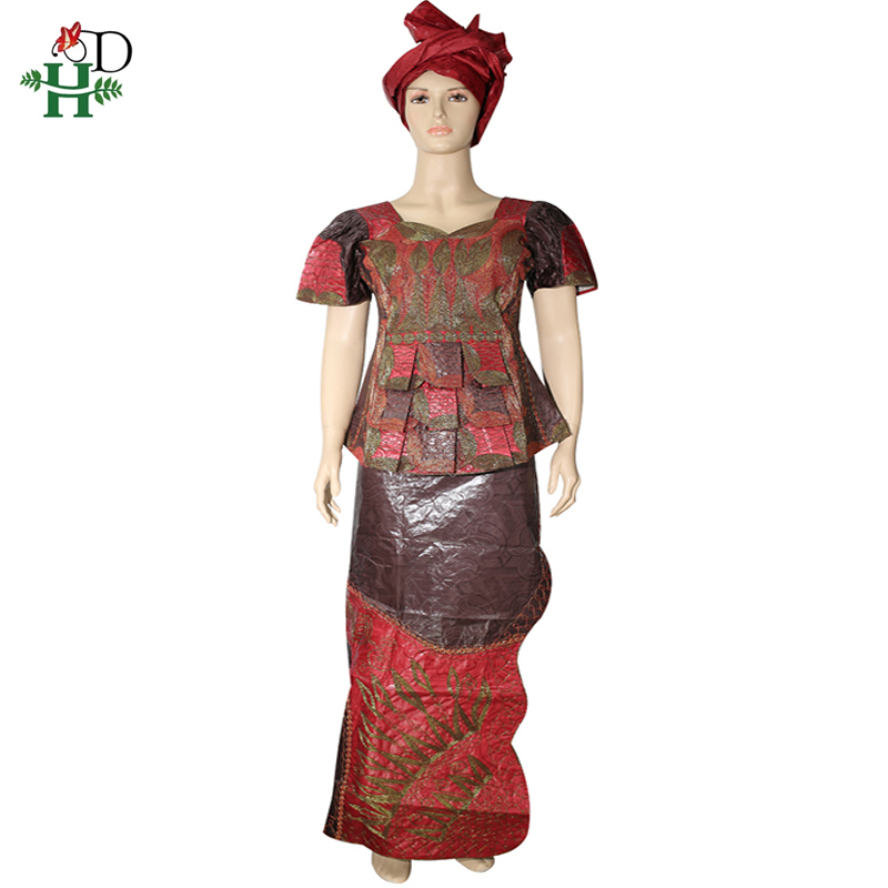 H&D 2019 Dashiki African Clothes For Women Tops Skirt Suit With Head Wrap Embroidery Short Sleeve T-shirt Traditional Clothing