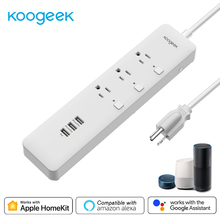 Koogeek wifiスマート出口サージプロテクタ個別に制御3 コンセント電源ストリップアップルhomekit googleアシスタントalexa