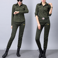 Outdoor Sports Tactical Blouse Shirt Women Military Uniform Suit Straight Cotton Slim Fit Trousers Training Shirt Army Green Set