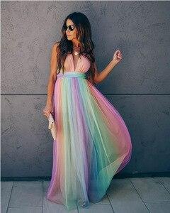 Женское шифоновое платье, длинное Радужное вечернее платье, вечернее платье на день рождения, вечернее платье для выпускного вечера