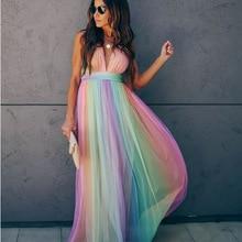 Sexy Long Rainbow Colorful Chiffon Evening Birthday Dinner D