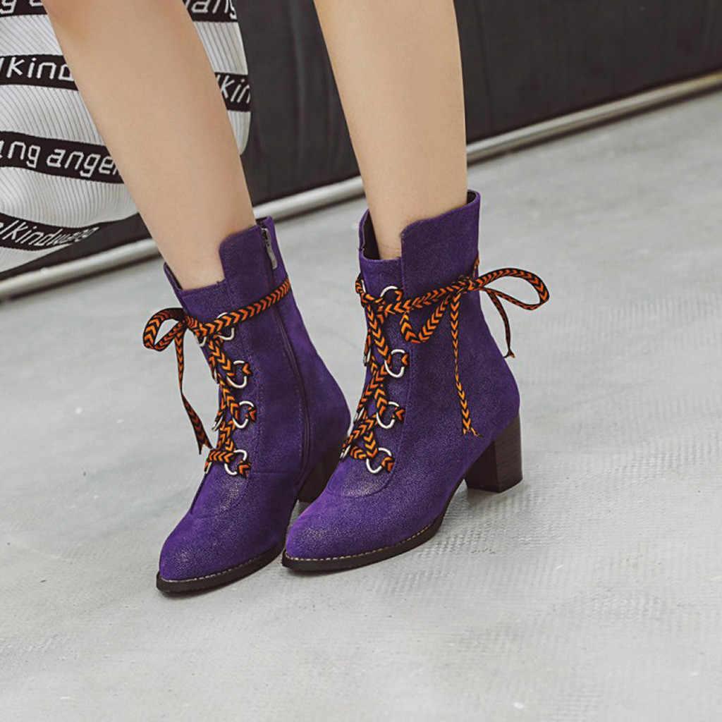 2019 สไตล์สตรีรองเท้าคาวบอยสบายสบายสบายๆรองเท้าส้นสูง LACE-UP แฟชั่นโรมันรองเท้ากลางรองเท้าสุภาพสตรีรองเท้า