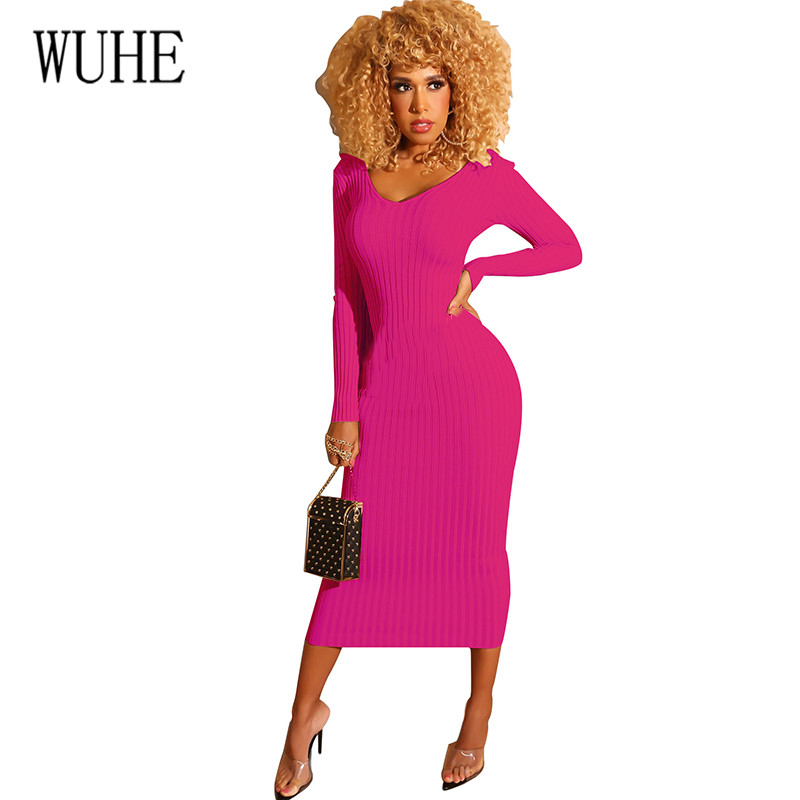 WUHE Autumn Knitted Bodycon Maxi Dress Sexy V Neck Long Sleeve Women Elegant Slim Fashion Dresses Thin Hollow Out