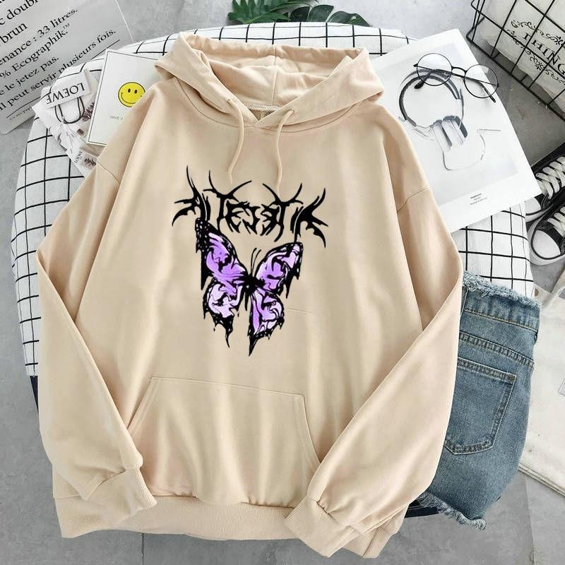 pink clothing black butterfly oversized Women's Hoodies Print Kawaii Sweatshirt Hoodies for Women top Hoody clothes Full Sleeve 13