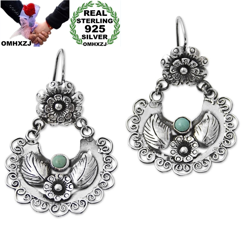 OMHXZJ Wholesale EA623 European Fashion Woman Girl Party Birthday Wedding Gift Vintage Flower 925 Sterling Silver Drop Earrings
