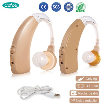 Cofoe BTE Aparaty słuchowe Wzmacniacz dźwięku ucha Narzędzie do pielęgnacji uszu Akumulatorowy regulowany aparat słuchowy dla osób starszych pacjentów z ubytkiem słuchu 2 regulowane kolorystycznie aparaty słuchowe tanie i dobre opinie Cofoe Mini Behind the Ear Hearing Aids skin metal 1 hour 48 hours Rechargeable 4 5cm 3 Set