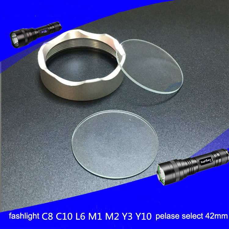 Glass Lens Flat Lens Torchy Lens For Flashlight Lamp Glass C8 L6 C10 Diameter 20 21 38.3 42 51 55 60 63.5 65mm