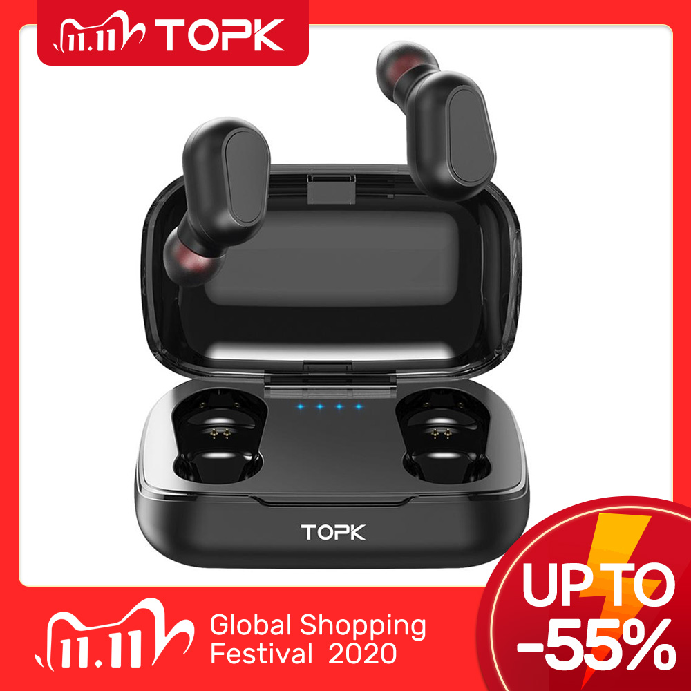TOPK Wireless headphones TWS Bluetooth v5 0 LED Display Bluetooth Earphone Sports Waterproof earbuds headset Support iOS Android