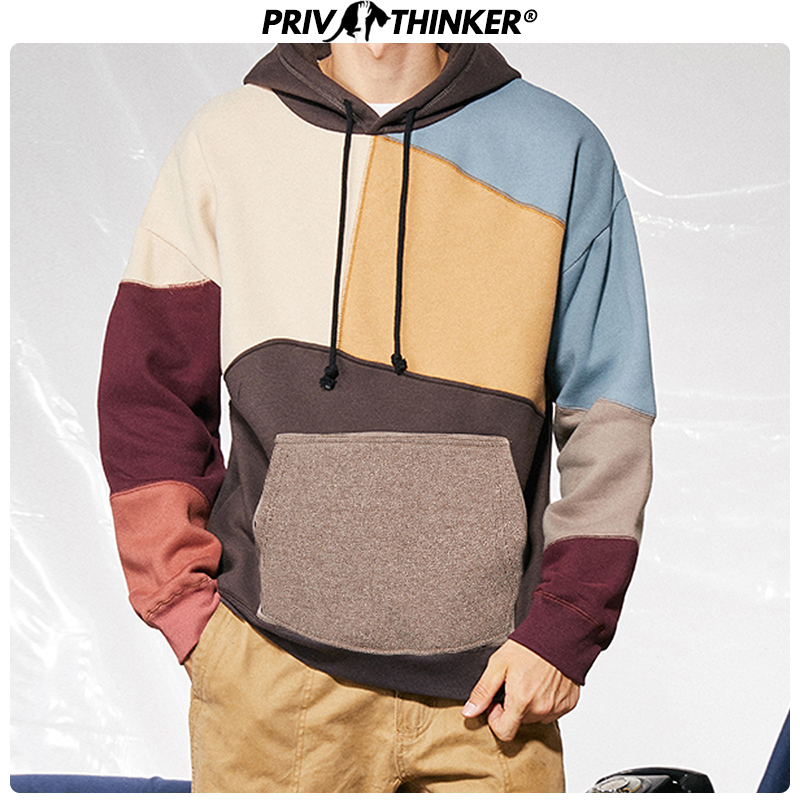 Privathinker US SIZE Men Woman Patchwork Casual Sweatshirts  2019 Autumn Winter Korean Clothes Thicken Warm Streetwear Hoodies