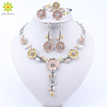 Nigerian Jewelry Sets for Women African Costume Design Flower Shaped Silver Plated Bracelet Earrings Ring Necklace
