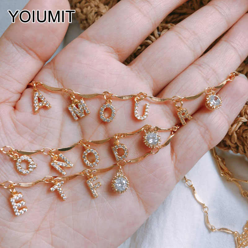 Yoiumit Charm Custom Name Necklace Choker Letter Zircon Necklace Women Girl Gold Silver Color Personalized Jewelry