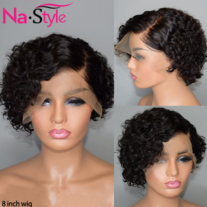 Image 1 - Pixie Cut Lace Wig Preplucked Blunt Cut Bob Lace Front Wigs Short Human Hair Wigs 150 250 Curly 13x4 Lace Front Human Hair Wigs