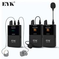 EYK EW-C102, micrófono de cámara, micrófono de solapa inalámbrico UHF con función de monitoreo de audio, utilizado para grabación de transmisión web con cámara DSLR DV de teléfono