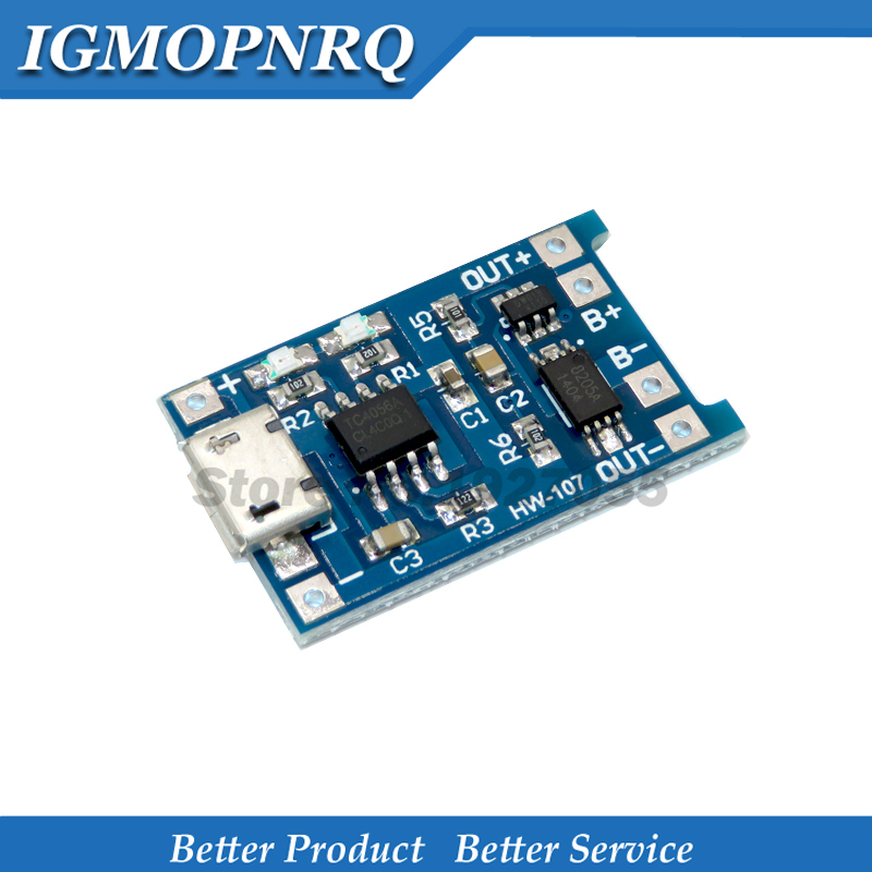 10Pcs  USB 5V 1A 18650 TP4056 Lithium Battery Charger Module Charging Board With Protection Dual Functions 1A Li-ion