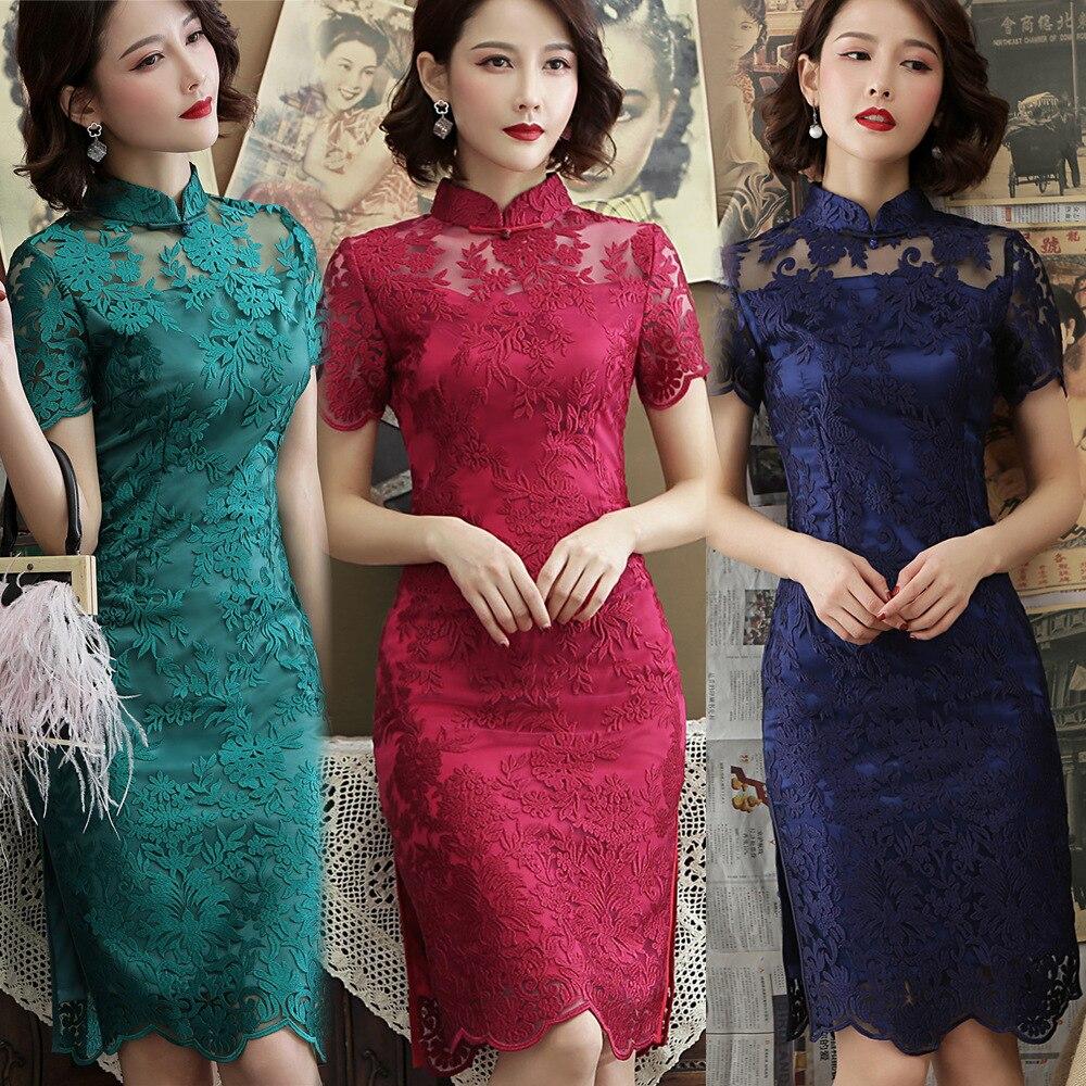2020 Chinese Evening Dress Women Flower Embroidery Half Sleeve Wedding Traditional Qipao Dress Lace Cheongsam Elegant