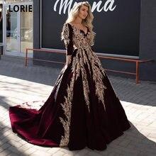 Lorie бордовые вечерние платья бархатные золотые кружева аппликация