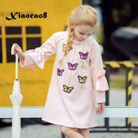 Toddler girl clothes new autumn spring girls dress kids butterfly cotton pink dresses for girls party clothing baby fall dress
