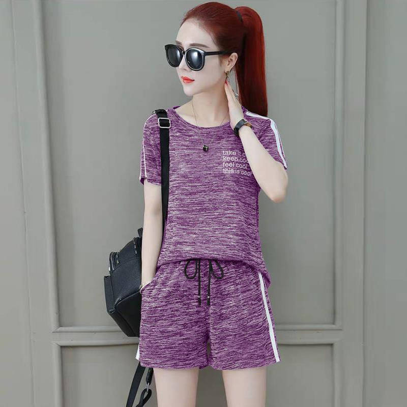 2020 Summer Two-Piece Set WOMEN'S Short Sleeved Shorts New Style Loose And Plus-sized Running Sports Clothing WOMEN'S Suit Casua