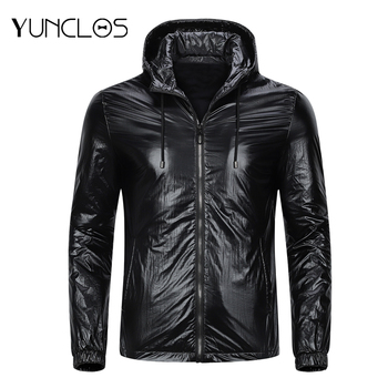 YUNCLOS   Men's Solid Color  Jacket  With Hat Thin  Fashion Coat Casual jacket Masculine Size M-4XL  Handsome Style