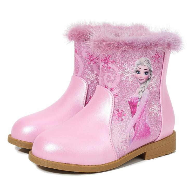 Winter Girls Elsa Boots Cartoon Warm Plush Kids Boots For Kids Cotton-Padded Baby Shoes For School Party Boot