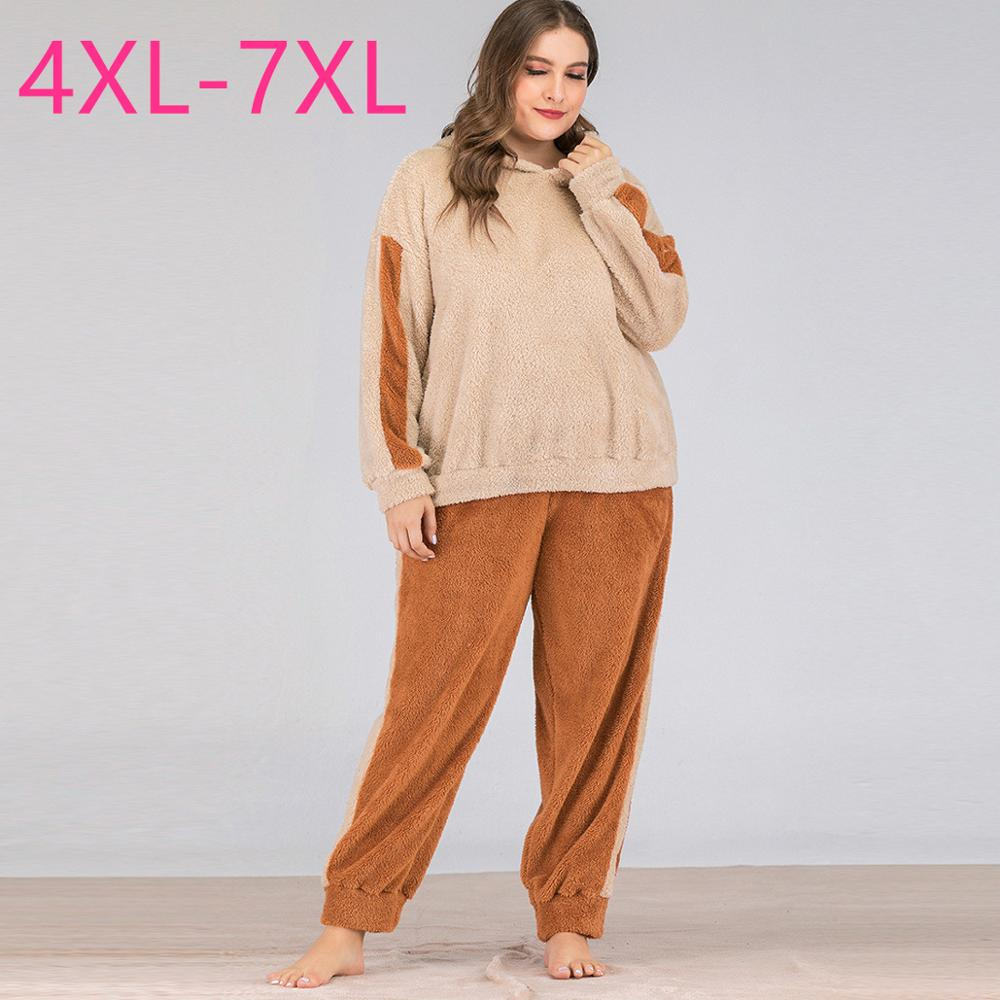 Autumn Winter Plus Size Long Sleeve Loose Keep Warm Khaki Velvet Hoodie And Long Pants Pajamas Two Piece Suit 4XL 5XL 6XL 7XL