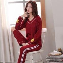 Пижама из хлопка для женщин, осенний топ с принтом+ длинные штаны, комплекты из 2 предметов, пижамный комплект для женщин, милая Пижама для девочки, M, L, XL, XXL