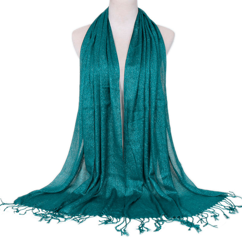 Fashion Shimmer Lurex Muslim Scarves Women Malaysia Long Shawl Glitter Plain Tassel Head Scarf Islamic Turban Wraps Headband